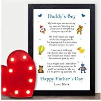 Daddy's Boy PERSONALISED Keepsake Poem for Fathers Day - Gifts for Dad Daddy Grandad from Son Grandson - 1st Fathers Day Gifts Presents Keepsakes - A5 A4 Prints and Frames - 18mm Wooden Blocks