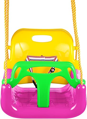 Amashion 3 In 1 Swing Seat,Toddler Secure Detachable Swing Seat with Snap Hooks and Hanger Belts, High Back Full Bucket for Children Indoor Outdoor Pink