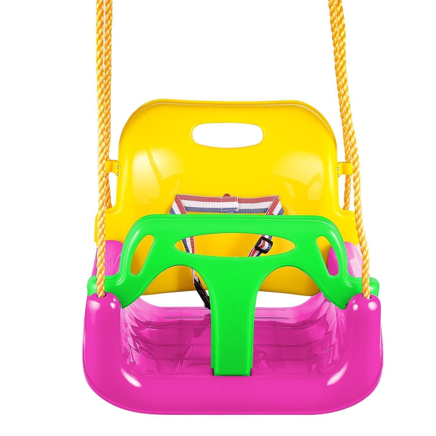 Toddler Swing Seat, Baby High Back Full Bucket 3 in 1 Swing Seat with Heavy Duty Chains Playground Swing Set Accessories (pink)