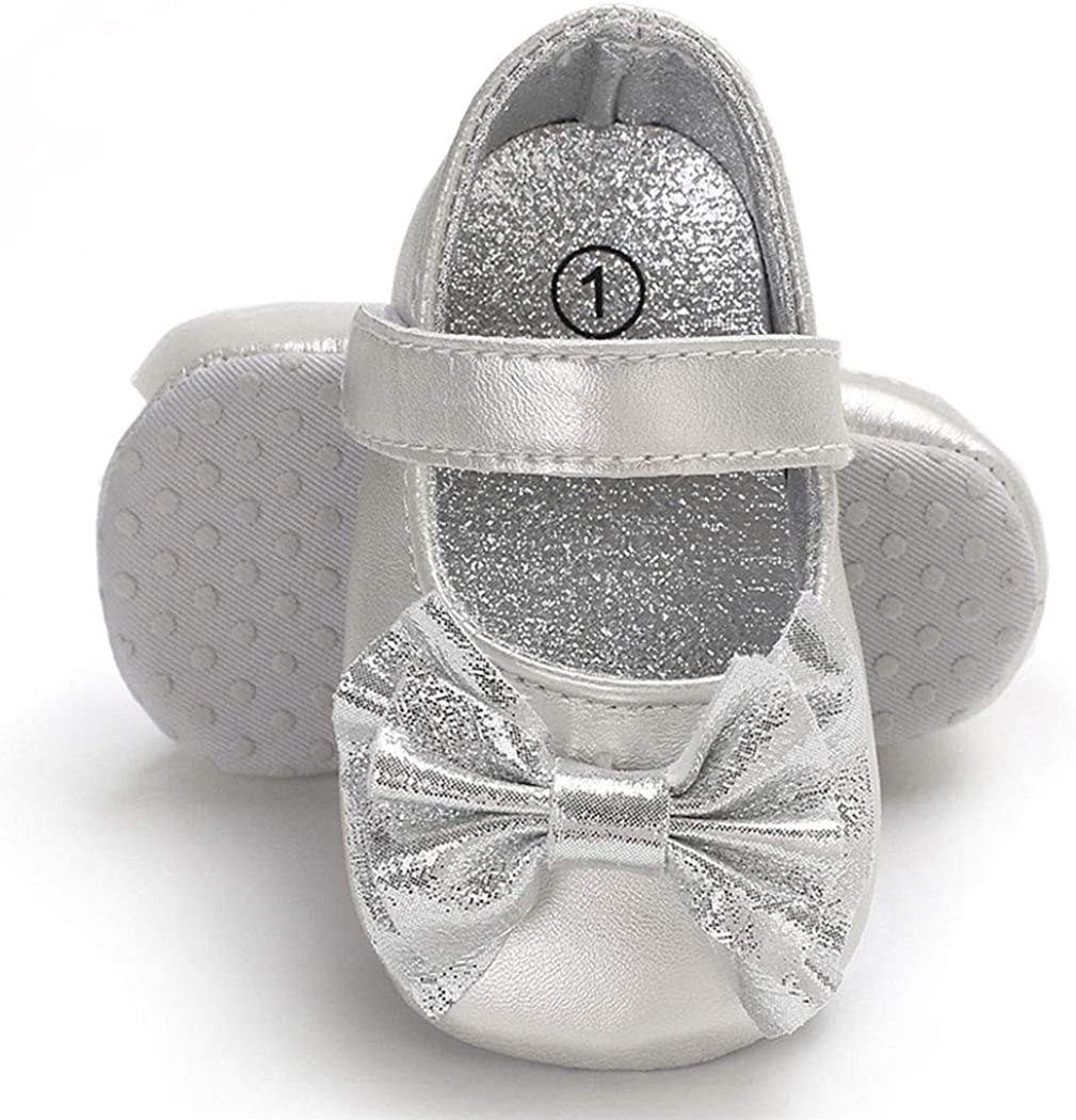 BABITINA Baby Girl Shoes Mary Jane Flats with Bowknot Non-Slip Toddler First Walkers Infant Dress Shoes