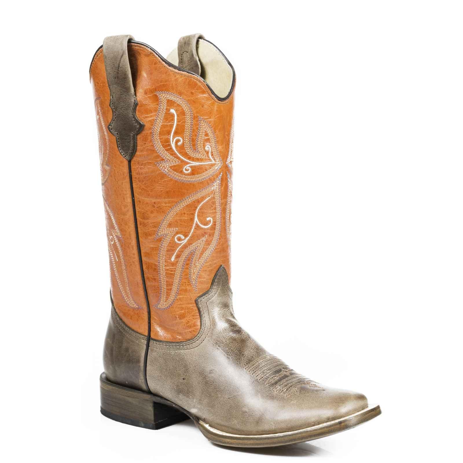 Roper Pop Top Ladies Brown Leather 12in Western Orange Boots 7.5