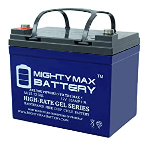 Mighty Max Battery 12V 35Ah Gel Battery Replaces JohnDeere Lawn Tractor-Riding Mower 108 Brand Product