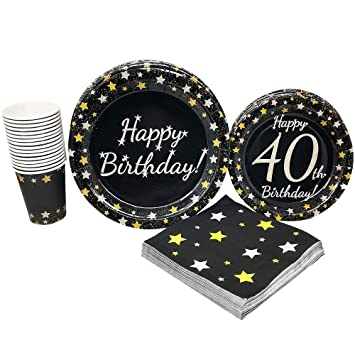 40th Birthday Party Supplies 65 Pieces For 16 Guests Milestone