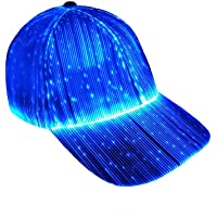 Ruconla Fiber Optic Cap LED hat with 7 Colors Luminous Glowing Hip hop Baseball Hats USB Charging Light up caps Even…