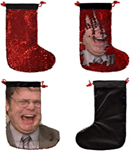 Dwight Schrute Office_SS0034 Funny ChristmasStocking,15,7 inch SequinChristmasStockings, Nicolas Cage Goldblum Gifts, Funny Christmas Decor, Nerdy White Elephant Presents