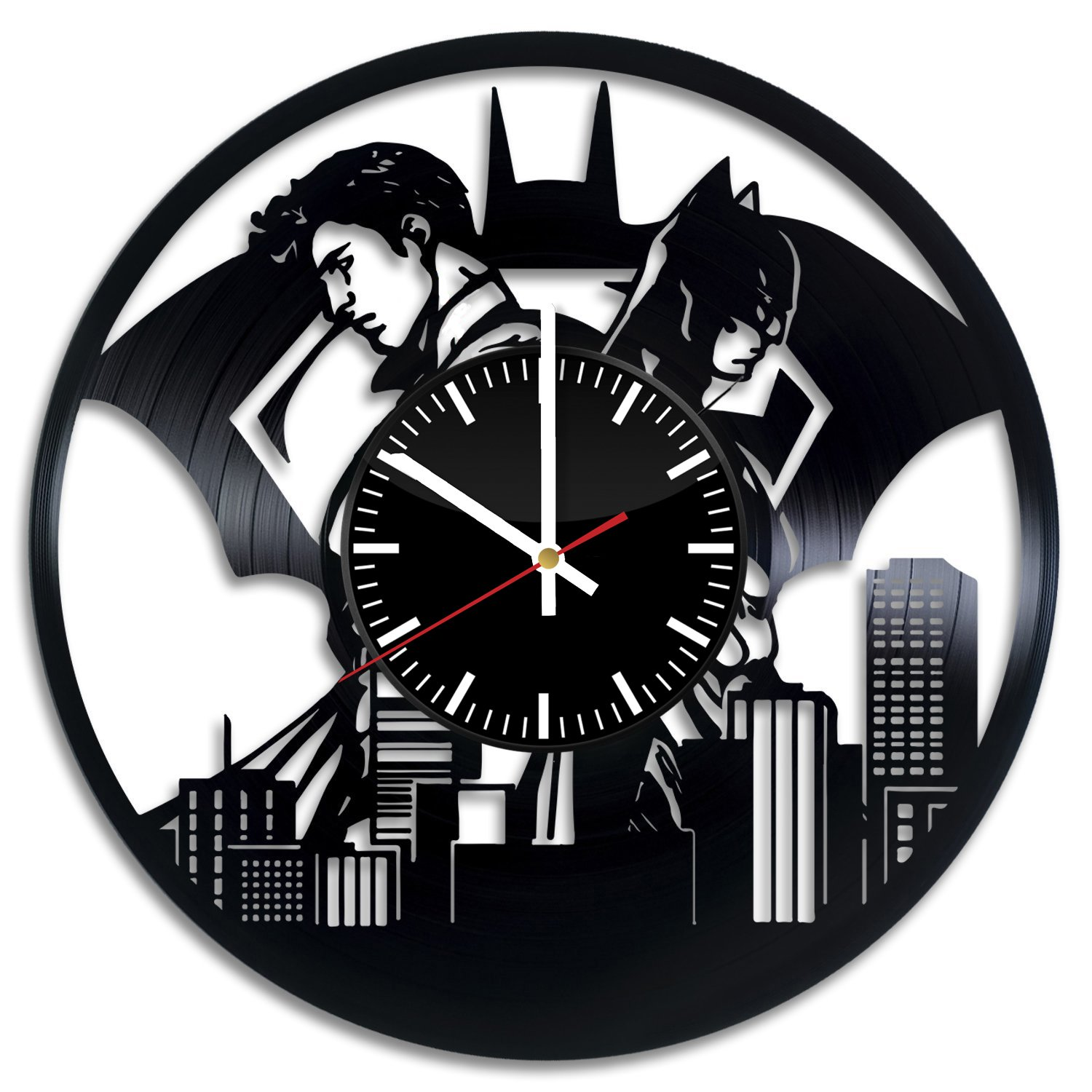 Welcome Everyday Arts Batman with Superman Design Vinyl Record Wall Clock - Get unique living room wall decor - Gift ideas for boys and girls – DC Comics Heroes Unique Modern Art by Welcome Everyday Arts