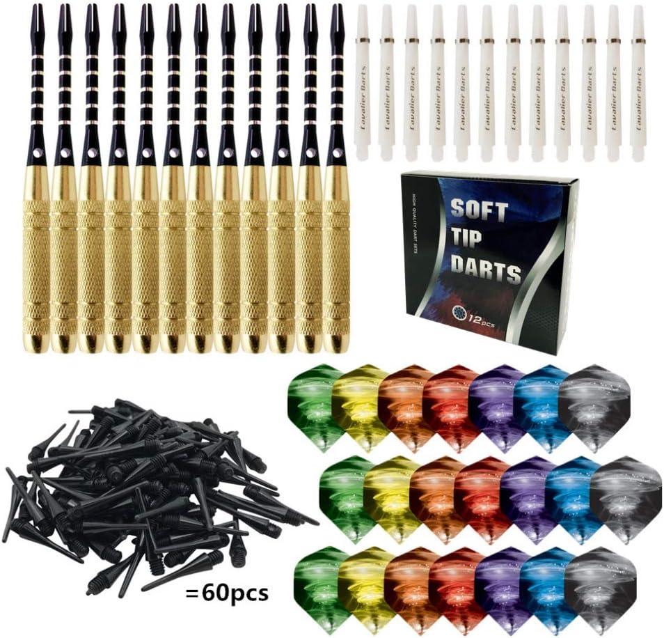 Gwxevce 12pcs / Set Dardos de Punta de plástico Blando para Tablero de Dardos electrónico Party Bar Juegos al Aire Libre e Interiores Color Aleatorio