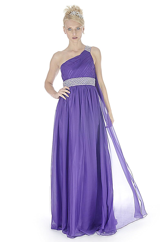 Gorgeous Grecian Style Cadbury Purple Beaded One Shoulder Evening ...