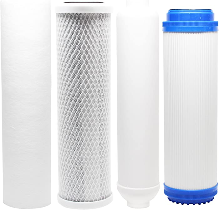Replacement Filter Kit Compatible with Aquasafe Home II RO System - Includes Carbon Block Filter, PP Sediment Filter, GAC Filter & Inline Filter Cartridge - Denali Pure Brand