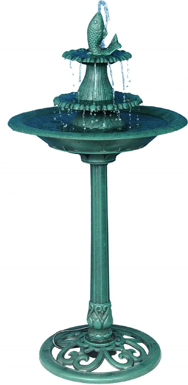 Alpine Tiered Classic Fish Pedestal Garden Water Fountain and Birdbath, Dark Verdigris Green Finish, 40 Inch Tall TEC104