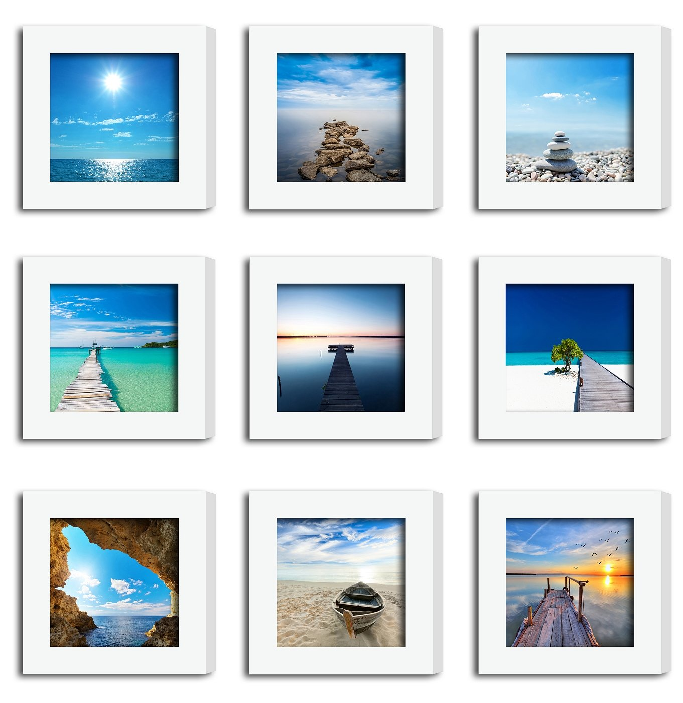 9Pcs 4x4 Real Glass Wood Frame White Square , Fit Family Image Pictures Photo (Window 3.6x3.6 inch) , Desktop Stand On Wall Family Combine Sea Jetty Beach Motivational Decoration (10 Set Pictures)