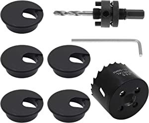 Furcoitur 5Pcs 2Inch Desk Wire Cord Cable Grommets Hole Cover with Hole Saw Kit, Flexible Desk Cord Cover With Drill Bits Hex Wrench for Office Desk Cord Cable Organization, Black