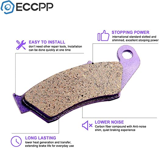ECCPP FA185 Brake Pads Front and Rear Carbon Fiber Replacement Brake Pads Kits Fit for 2002 2003 2004 2005 2006 2007 2008 2009 2010 2011 2012 2013 2014 2015 Honda