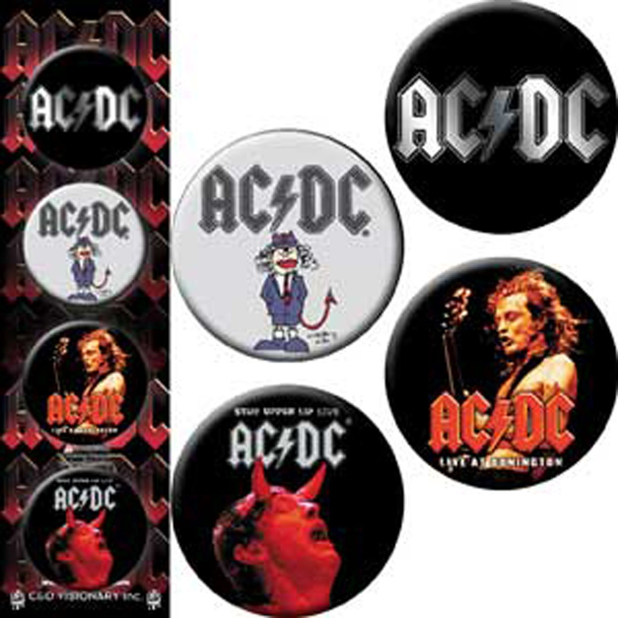 AC/DC 4 Pieces 4 Pieces Assorted gemischtLogo Button Taste Set Button Taste Set, Officially Licensed Products Classic Rock Assorted gemischtArtwork, Button Taste Set - 1.25' Each jeder Button Taste Set - 1.25 Each jeder B-5435-S
