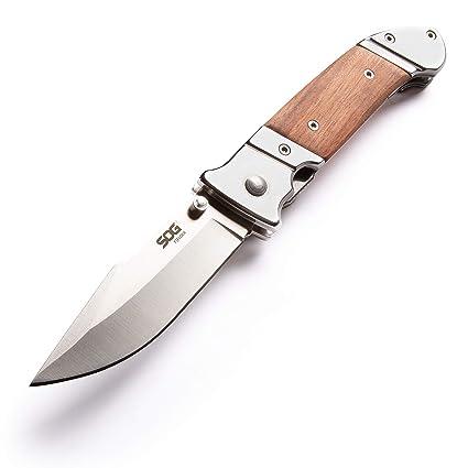 SOG Wood Folding Pocket Knife - Fielder Folding Knife, Gentlemans Knife, 3.3 Inch Classic Folding Knife Blade with Wood Knife Handle and Clip ...
