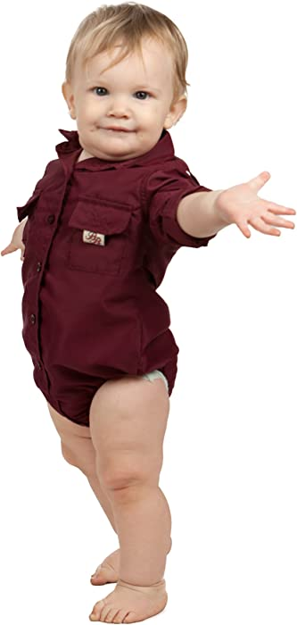 8c4526292d68 Amazon.com  Bull Red Baby Boys Maroon PFG Vented Fishing Shirt ...