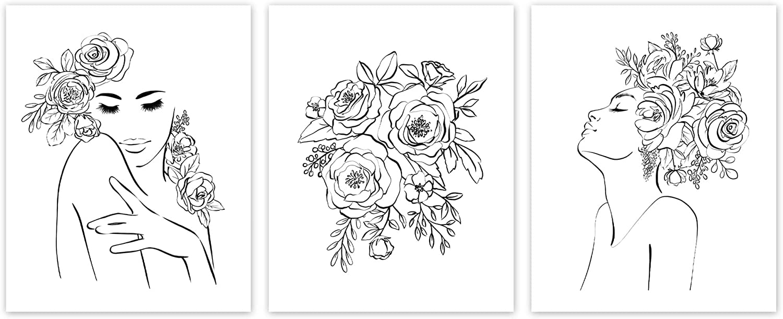 SL Design Minimalist Line Art Prints UNFRAMED (Set of 3), Black White Fashion Women, Aesthetic Poster for Teen Bedroom, Beauty Floral Drawing for Living Room, Flower Artwork Office Decor (11x14)