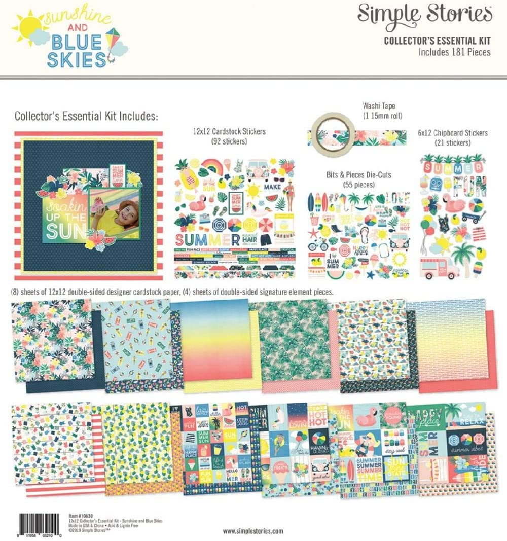 """Simple Stories COLLECTION KIT 12/""""x12/"""" Sunshine /& Blue Skies"""