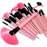 やわらか化粧ブラシセット上級者用 メイクブラシセット24本 ピンクの可愛い専用収納ケース