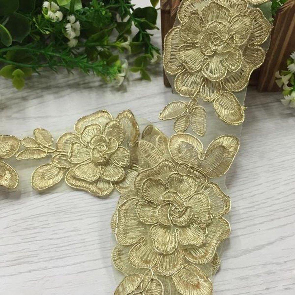 Oro rosenice 1/Yard 6/cm flores doradas Punta banda para DIY Costura boda vestido casa Ceremonia Decoraci/ón Artesan/ía lazo