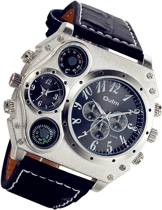 Lancardo, orologio da polso analogico, da uomo, stile steampunk, cinturino nero in pelle,quattro sub-quadranti LCD100631
