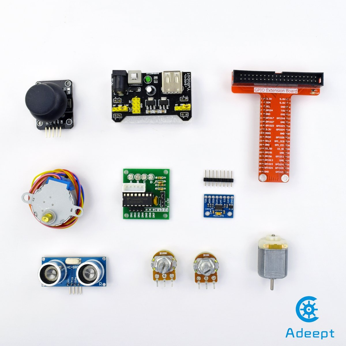 Adeept Rfid Starter Kit For Raspberry Pi 3 2 Model B Polarity Switch Element14 Stepper Motor Adxl345 40 Pin Gpio Extension Board Breadboard With C And Python
