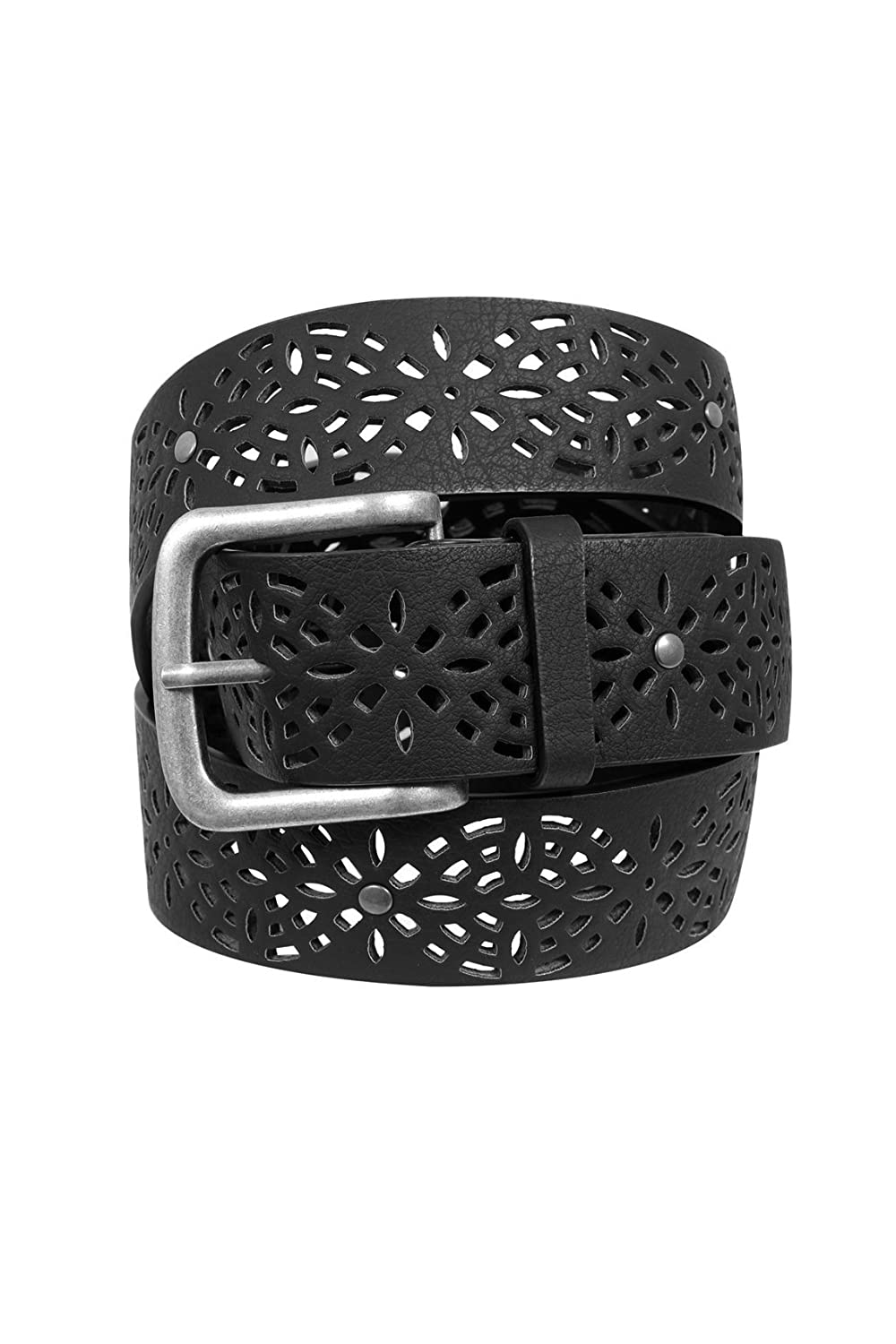Yoursclothing Womens Laser Cut Floral Belt With Silver Buckle