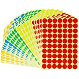 "1750 Dots Amersumer Print or Write 3/4"" Assorted Primary Colors Round Labels, Colored Circle Stickers, Permanent Adhesive-in assorted 5 colors, Red, Orange, Yellow, Green, Blue."