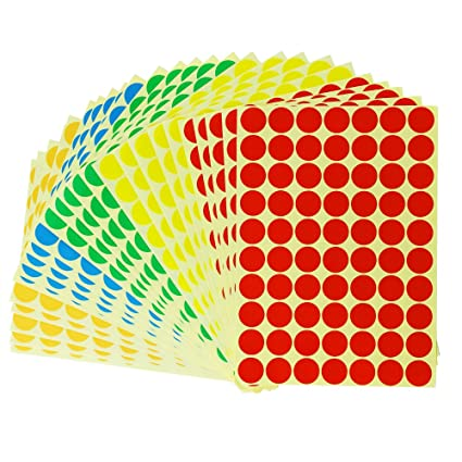 1750 Dots Amersumer Print Or Write 3 4quot Assorted Primary Colors Round Labels