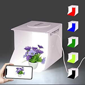 Mini Photo Studio Box, 9 x 9 Inches Shooting Tent Kit, Foldable Photography Booth With 2 x 20 LED Beads + 6 Colors Backdrops