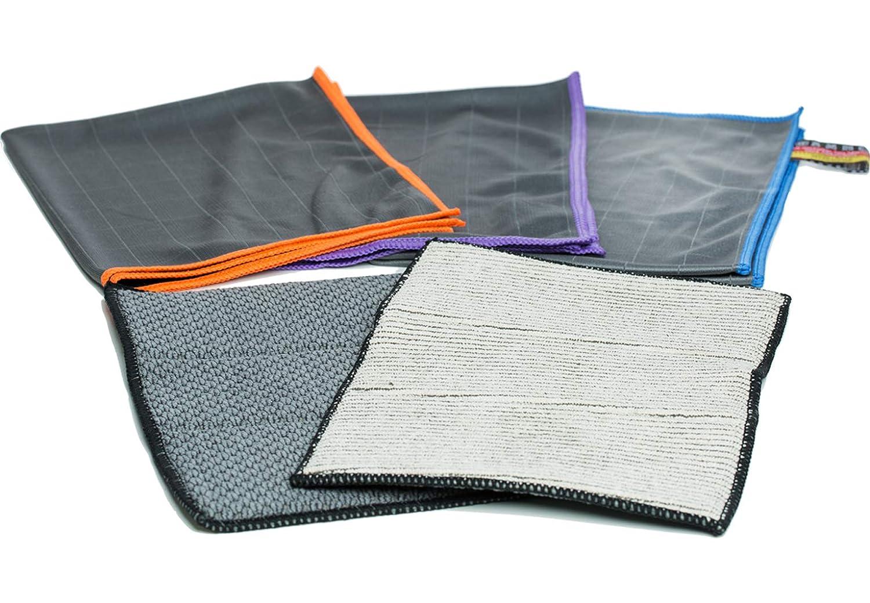 Chiffons de verre en microfibre de carbone Premium pour le nettoyage professionnel des vitres / miroirs / vitres - chiffon de polissage avec une combinaison de fibres incroyablement stable - 50x40cm - 350&900gsm (5). Auburn