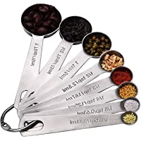 Hulless Stainless Steel Measuring Spoons, Narrow Design Fits in Spice Jars for Dry or Liquid Ingredients. (Set of 6)