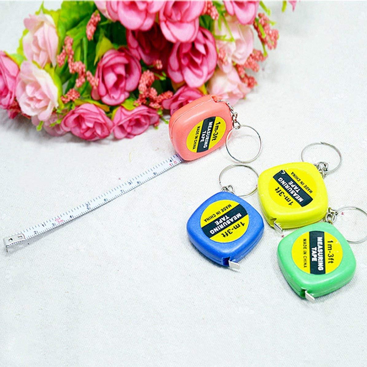 Sunnyflowk Mignon 1 M/ètre Couleur Al/éatoire Porte-cl/és Porte-cl/és Outil Populaire Mini Ruban /À Mesurer Porte-cl/és Portable al/éatoire