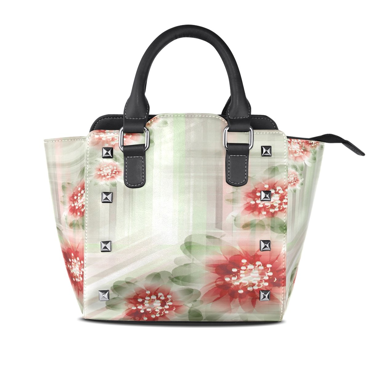 Womens Genuine Leather Hangbags Tote Bags Flowers Purse Shoulder Bags