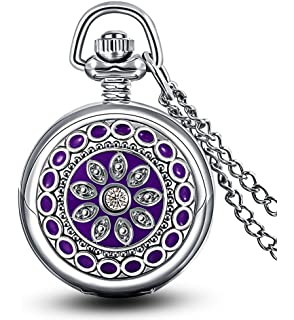 Ladies pendant pocket watch steampunk vintage necklace design with infinite u purple flower enamel small quartz pocket watch with mirror arabic numerals silver aloadofball Image collections