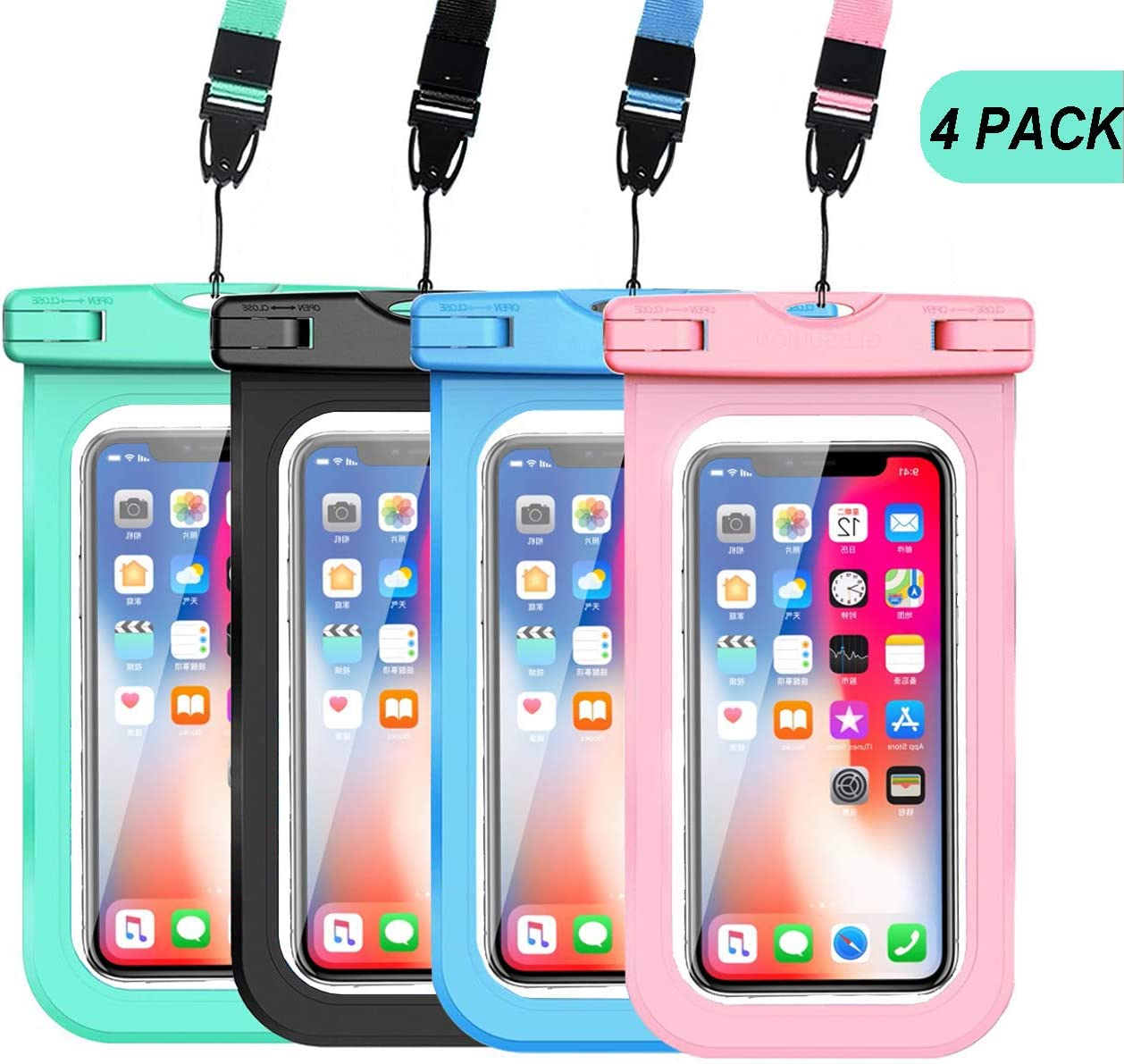 "GLBSUNION Waterproof Phone Pouch, IPX8 Universal Water proof Case Underwater Dry Bag 4-Pack Compatible for iPhone 11 Pro XS MAX XR X 8 up to 6.9"", Protective Pouch for Pools Beach Kayaking Travel Bath"