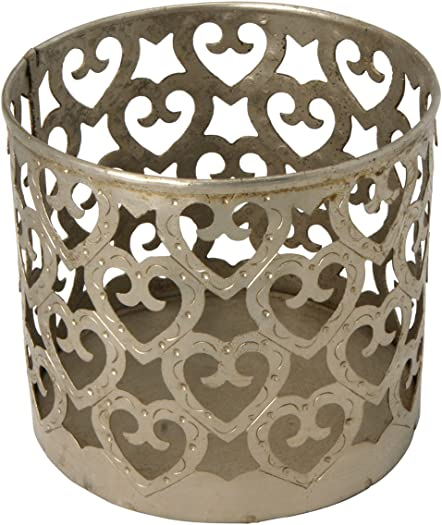Cultural Elements Artistic Set of 2 Metallic Cutout Heart Pattern Candle Holder