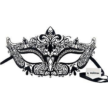 Unisex Black Diamond Masquerade Mask With Red Rhinestones