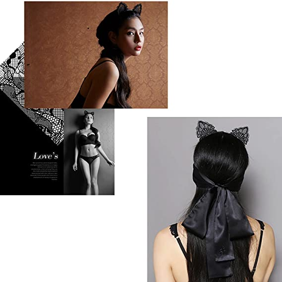 Orejas de Gato,Yosemy 2 Piezas Partido Encajes sexy Headwear del maquillaje de Hairbands del arco del gato Diademas para Mujeres Chicas, Blanco y negro: ...