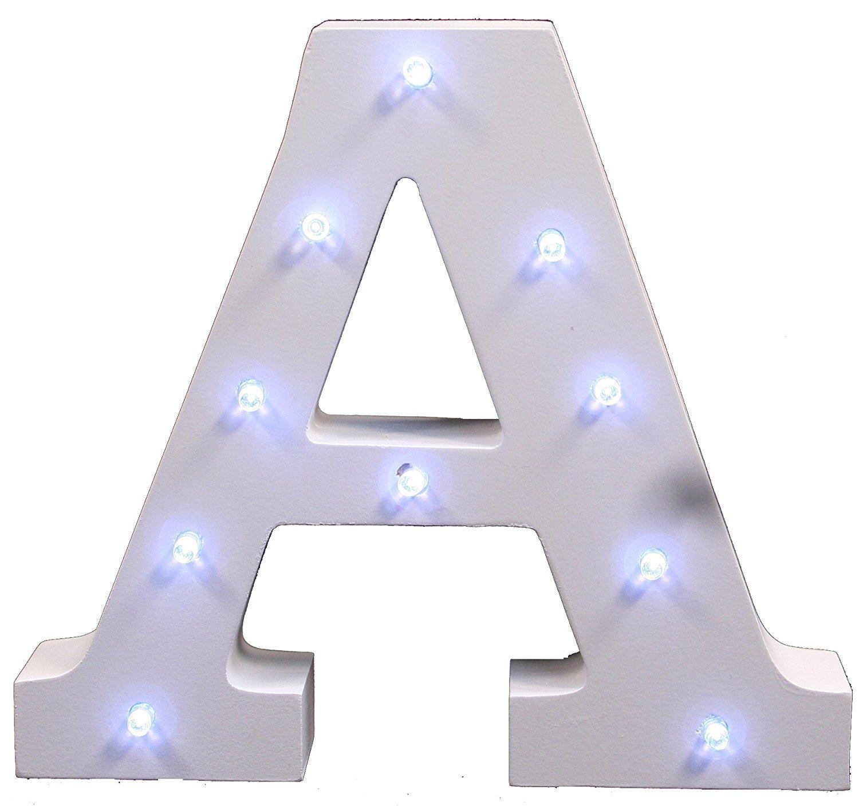 Dekorative leuchtende Buchstaben, KINGCOO Lampe batteriebetrieben hölzerne Alphabet uchstaben Zeichen Lichter, Party Hochzeit Dekorationen, Dein Name in Lichter - weiß (R)
