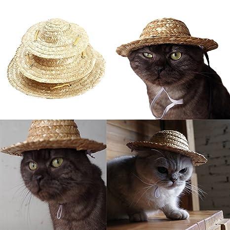 Balai Sombrero de Paja Animales domésticos, Sombrero de Paja Tejido, Disfraz para Gatos,