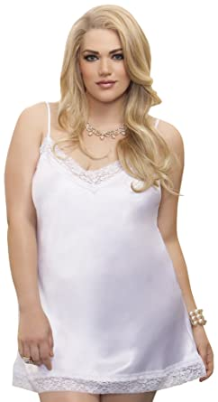 d46e9d5dd Amazon.com  iCollection Women s Satin and Lace Chemise  Clothing