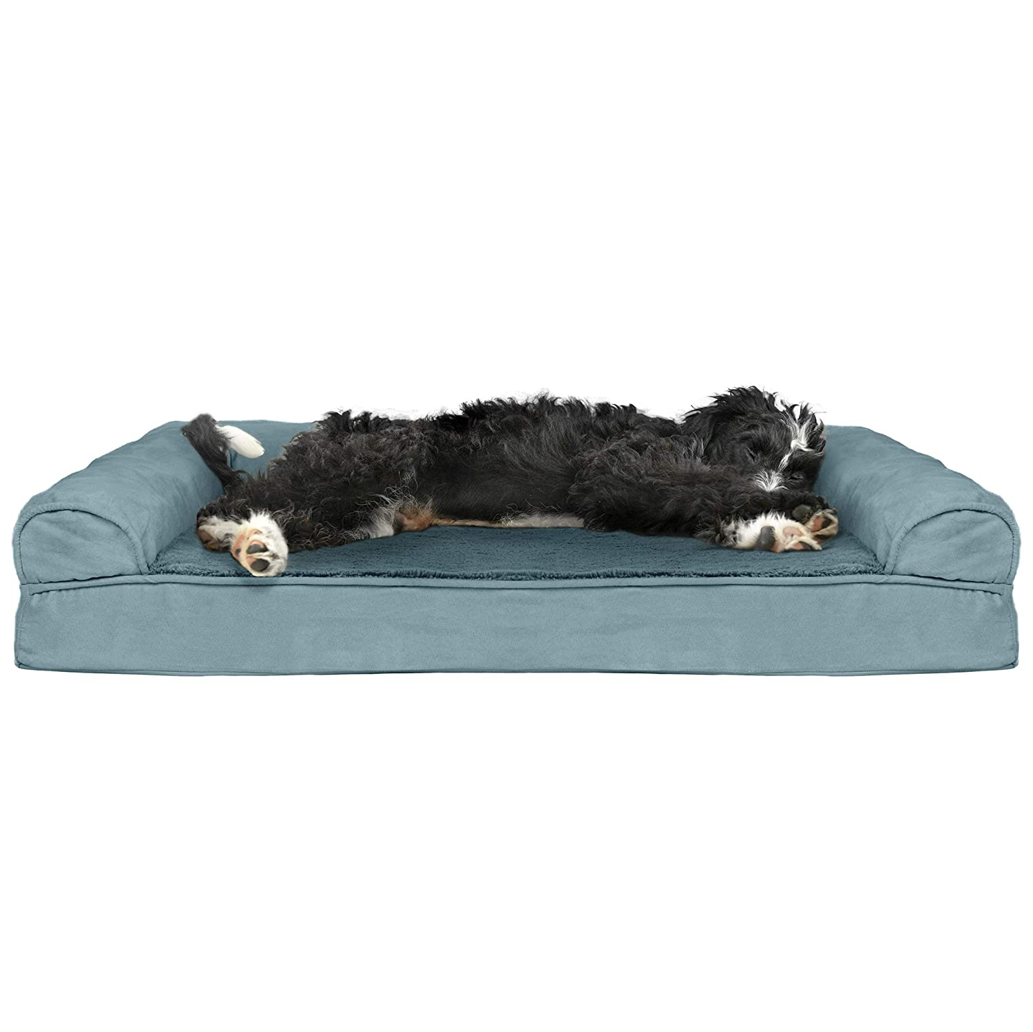 FurHaven Pet Dog Bed   Cooling Gel Memory Foam Orthopedic Ultra-Plush Sofa-Style Couch Pet Bed for Dogs & Cats, Deep Pool, Large