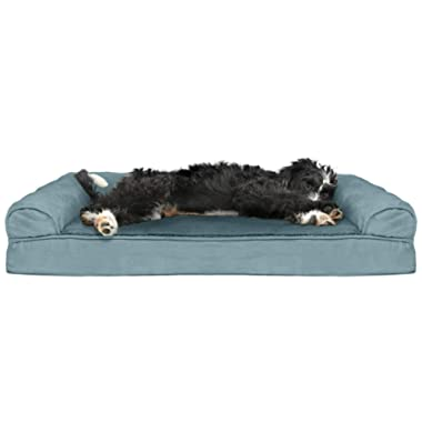 Furhaven Pet Dog Bed   Orthopedic Plush Faux Fur & Suede Sofa-Style Traditional Living Room Couch Pet Bed w/Removable Cover for Dogs & Cats - Available in Multiple Colors & Styles