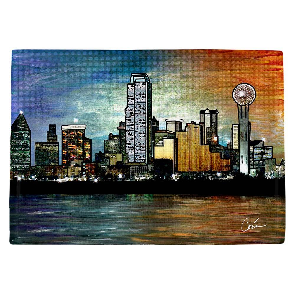 DIANOCHEキッチンPlaceマットby Corina Bakke – Dallas Skyline Set of 4 Placemats PM-CorinaBakkeDallasSkyline2 Set of 4 Placemats  B01EXSI72C