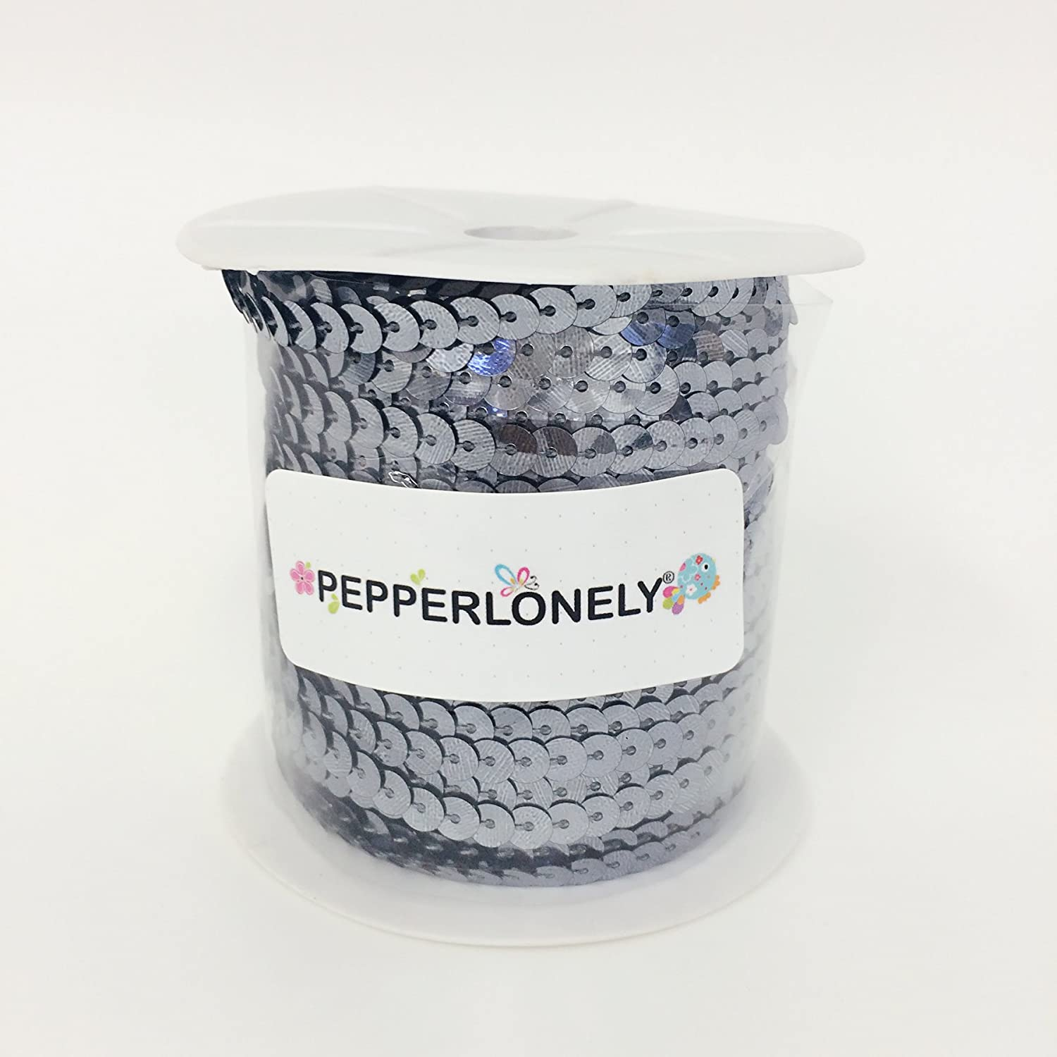 1//4 Inch PEPPERLONELY Brand 24 Rolls Mixed 24 Colors Flat Sequin Trim 6mm