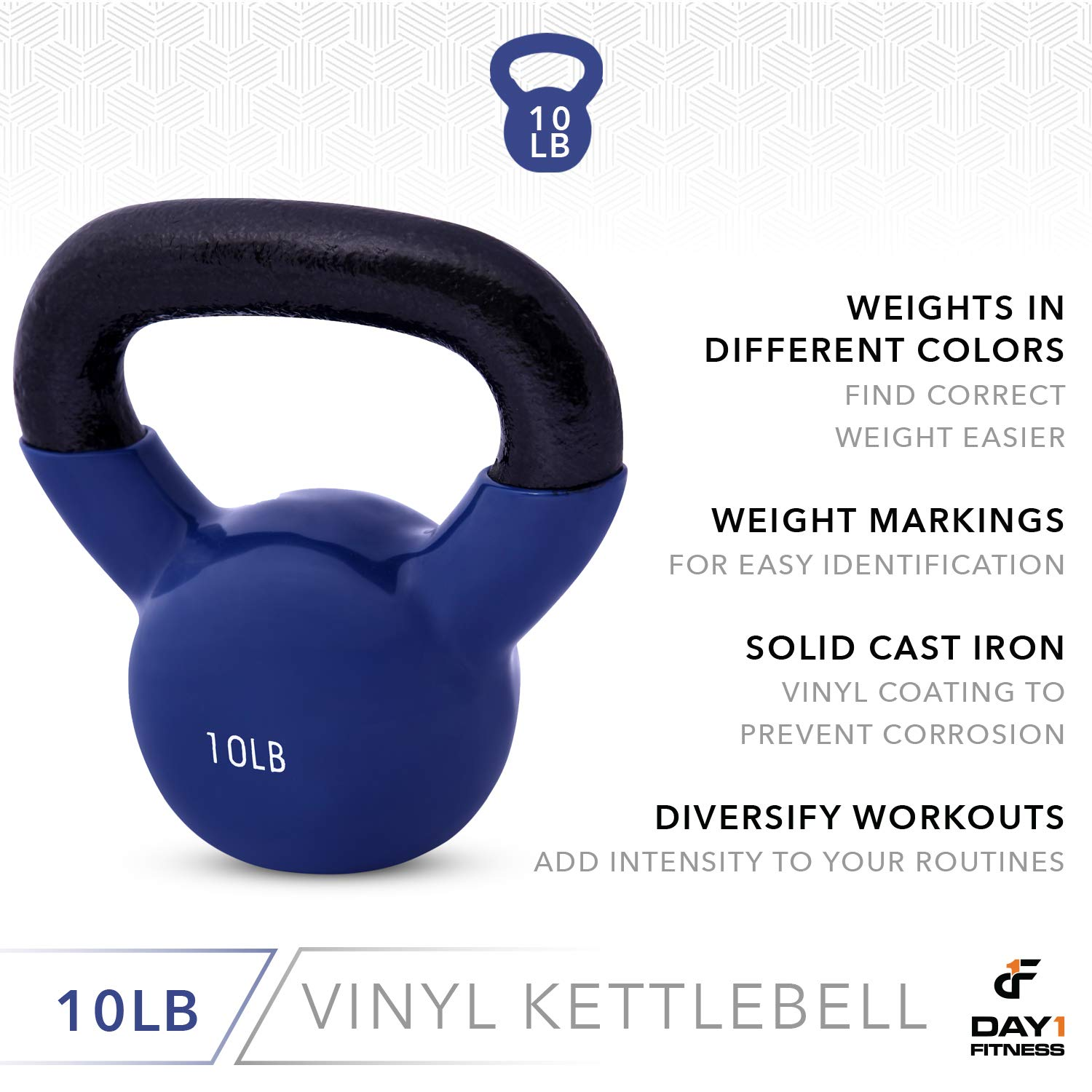 Day 1 Fitness Kettlebell Weights Vinyl Coated Iron 10 Pounds - Coated for Floor and Equipment Protection, Noise Reduction - Free Weights for Ballistic, Core, Weight Training by Day 1 Fitness (Image #5)