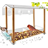 Bird Feeder, Strong Large Size with Suction Cups & Seed Tray, Separate Drinking-Water Sink & Wood Pillar Support…