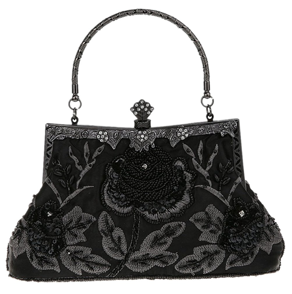 Bywen Womens Vintage Sequined Purse Party Clutch Shoulder Bags Black