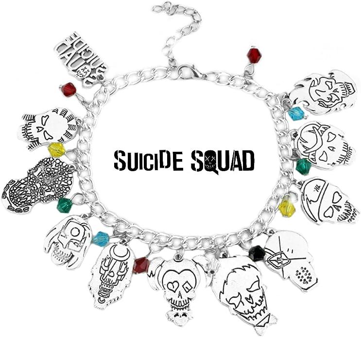 Athena Brands Suicide Squad - Pulsera de Calidad para Disfraces, diseño de DC Comics, Serie de Dibujos Animados con Caja de Regalo: Amazon.es: Joyería